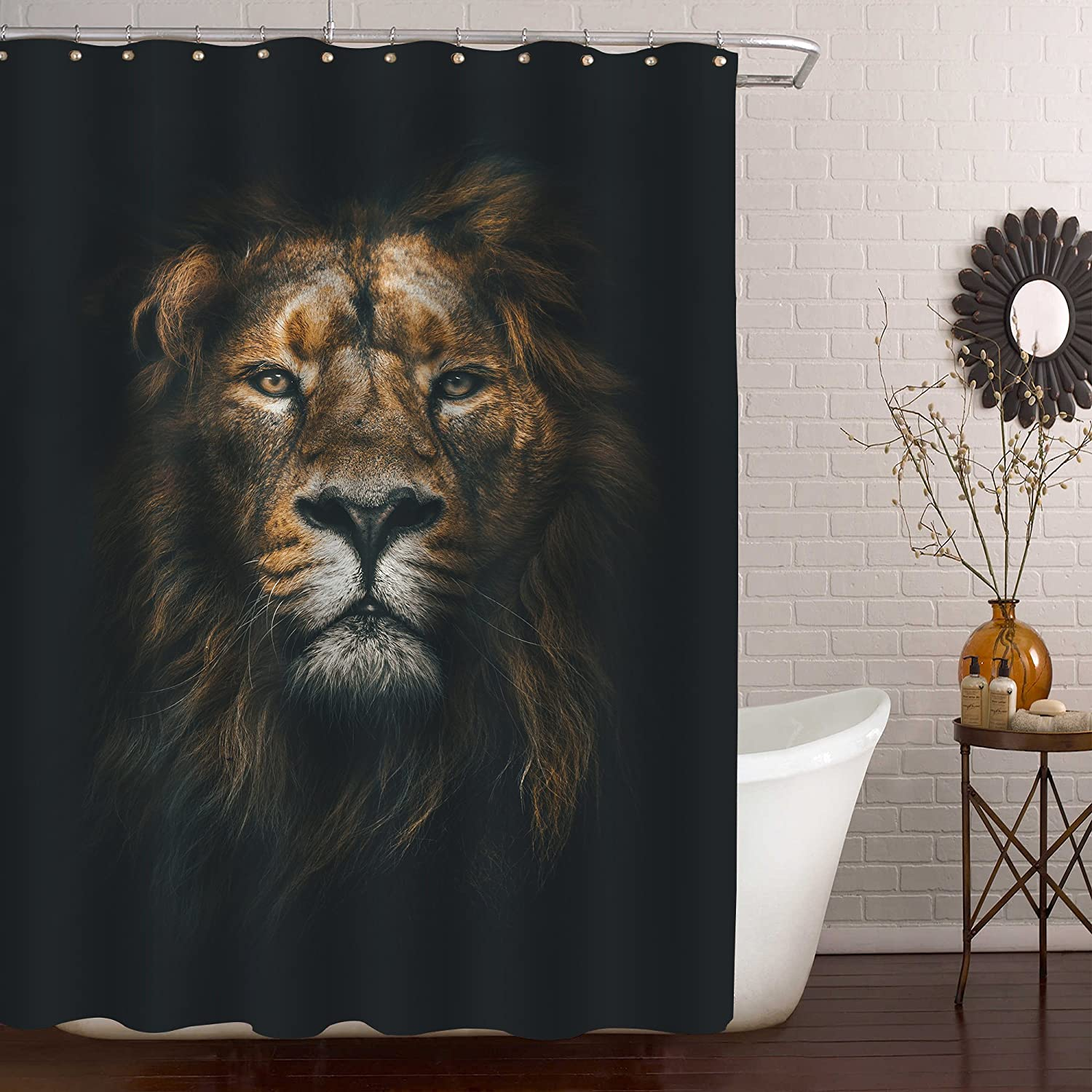 MitoVilla Cool Lion Shower Curtain Set with Hooks, Powerful Majestic Lion King Head Bathroom Accessories, Wildlife Themed Home Room Decor for Mens, Kids Boy and Animal Lover Gifts, Black Gold, 72 x 72