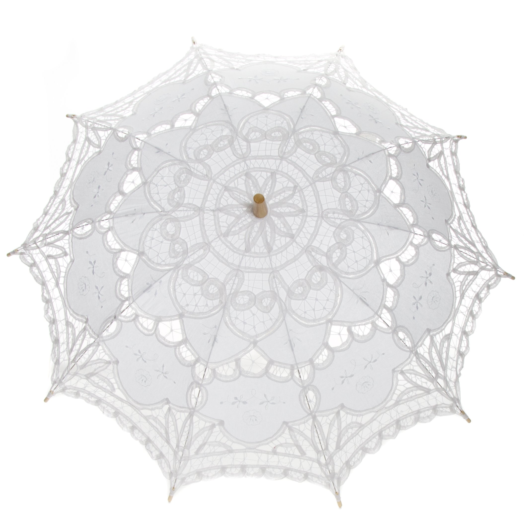Leisureland Vintage Victorian Lace Parasol Umbrella White by Leisureland (Image #2)