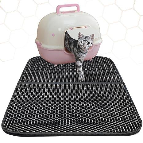 Alfombrilla para gatos, alfombra de alimentación para mascotas de doble capa, almohadilla para camadas