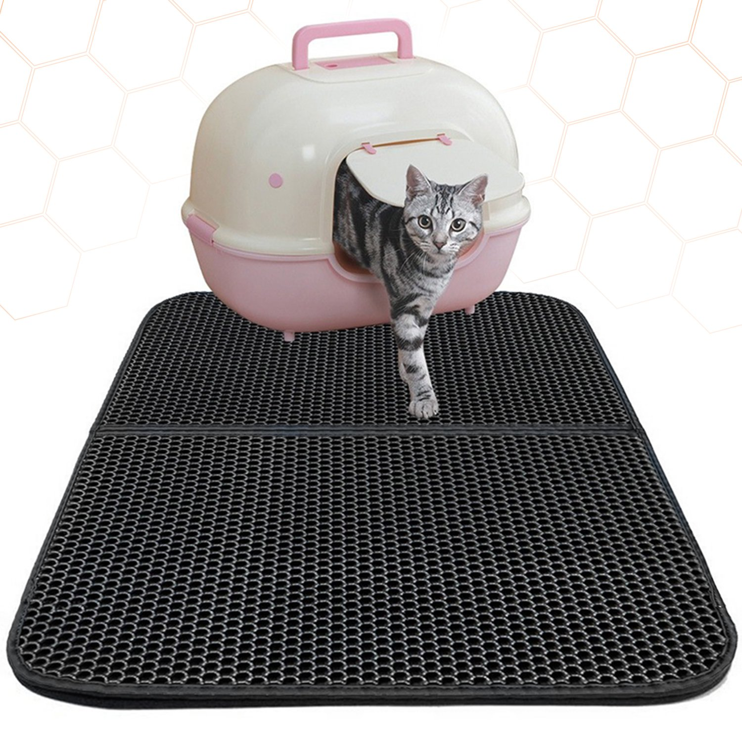 Cat Litter Mat ,Double-Layer Pet Feeding Mat, Super Size Litter Trapper Pad with Waterproof Base and Non-slip Backing(30''x22'')