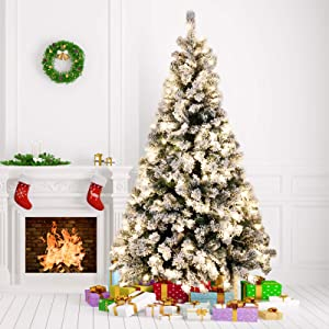 Amzdeal 6Ft Artificial Christmas Tree Snow Flocked -928 Hinged Branches Pre-lit Christmas Tree with 250 Warm White Lights & Metal Foldable Stand, Perfect Christmas Decoration for Home Outdoor Mall