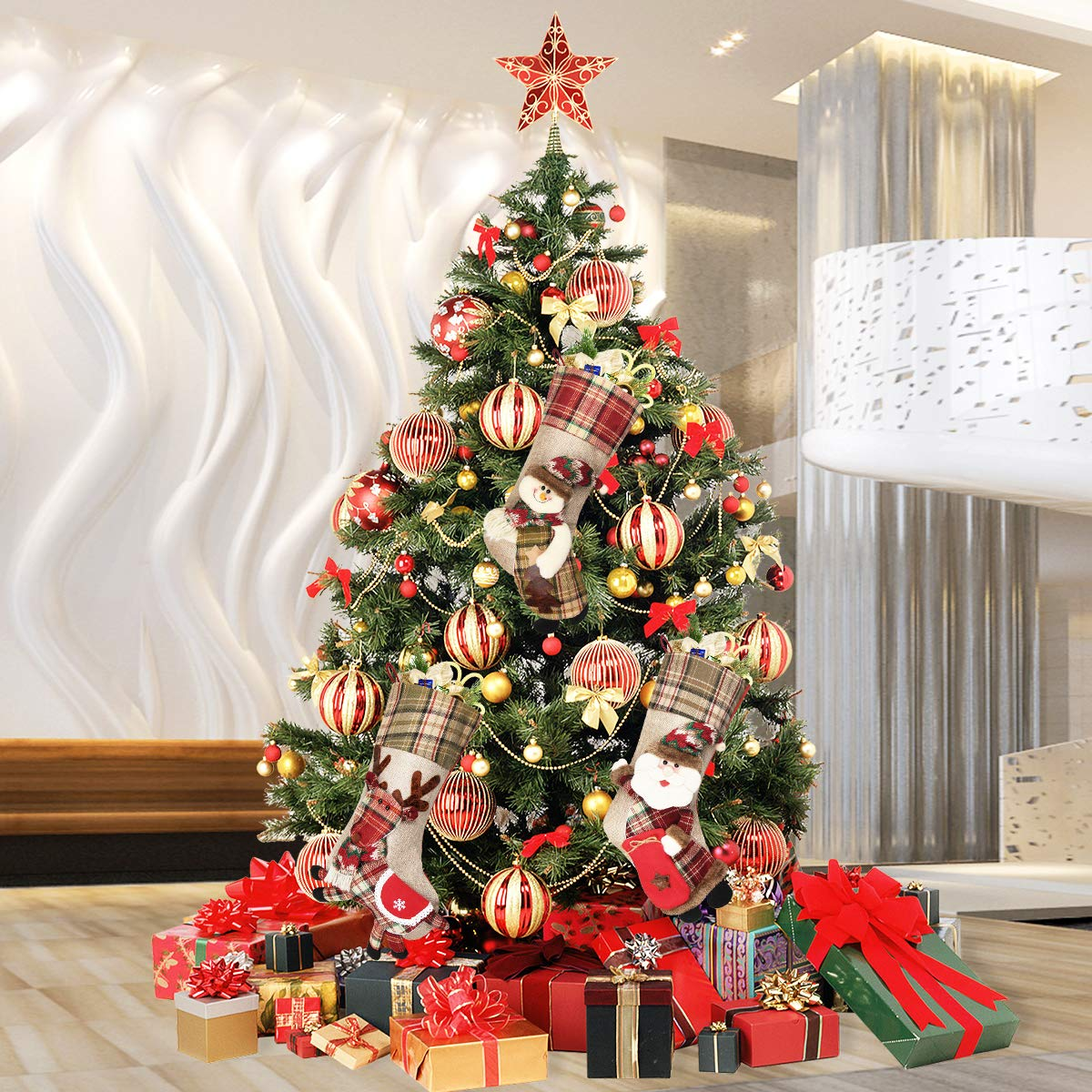 Dreampark Christmas Stockings, 3 Pack Classic Plaid Xmas Stocking 18\