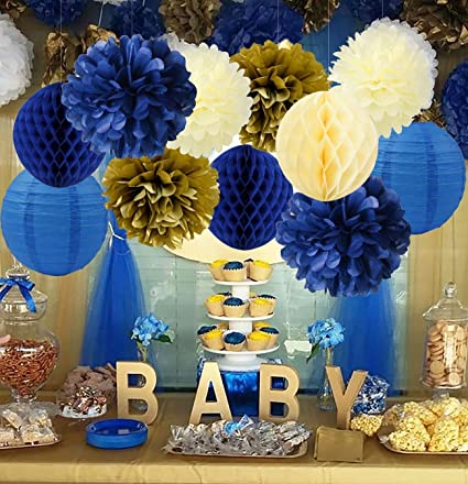 Amazon Royal Prince Baby Shower Decorations Furuix Navy Cream