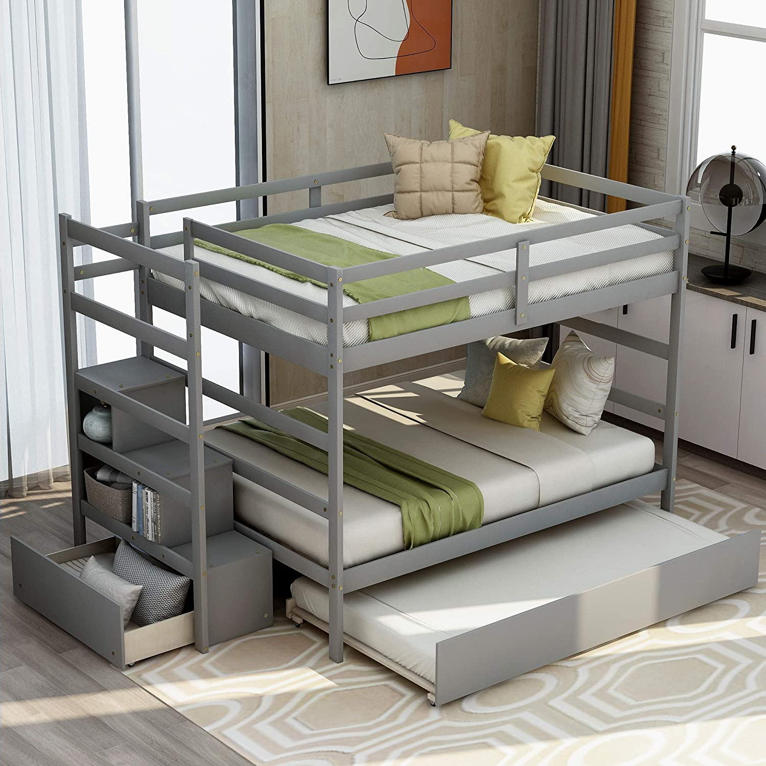 Amazon Com Full Over Full Bunk Bed With Twin Size Trundle Storage And Drawer Twin Over Pull Out Bunk Bed For Kids Adult No Box Spring Needed Kitchen Dining