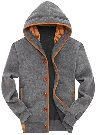 a58bd9081dd5 Amazon.com: Wantdo Men's Button Hoodie Sweatshirts Jacket: Clothing