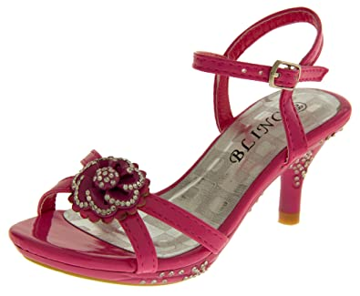 4821ea44b95 Footwear Studio New Girls Wedding party Christening kitten heel party  sandals shoe size 9-2