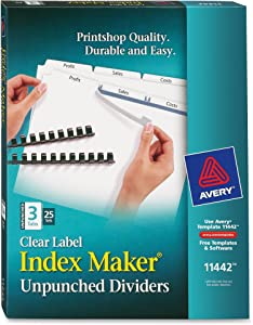 Avery 3-Tab Unpunched Binder Dividers, Easy Print & Apply Clear Label Strip, Index Maker, White Tabs, 25 Sets (11442)