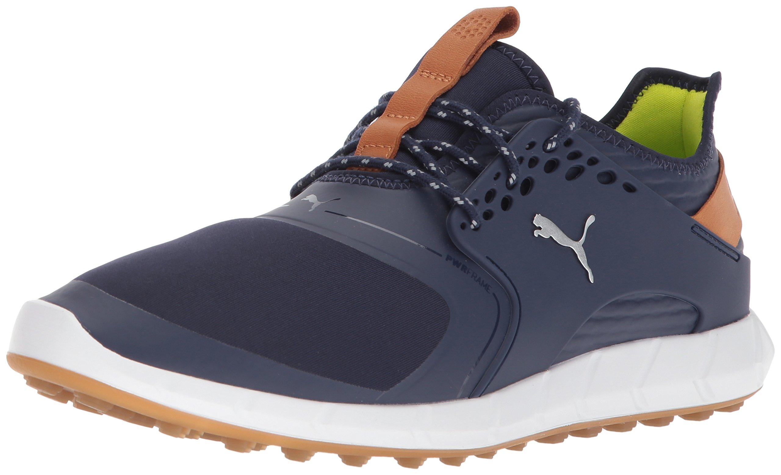 PUMA Golf Men's Ignite Pwrsport Golf Shoe, Peacoat/Silver, 9 Medium US