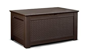 Rubbermaid Patio Chic Plastic Storage Bench, Dark Teak Basket Weave, 1837304