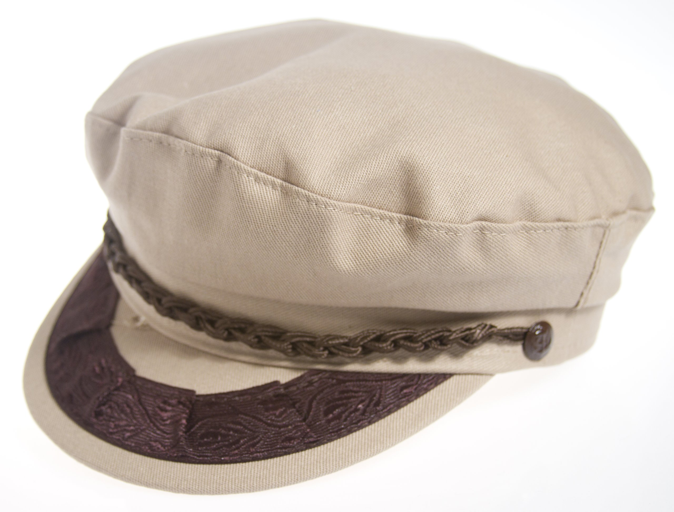 Authentic Greek Fisherman's Cap - Cotton - Khaki - Size 62 - (7 3/4)