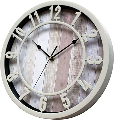 Sunbright 12 Inch Rustic Decorative Noiseless Wall Clock Silent Non-Ticking