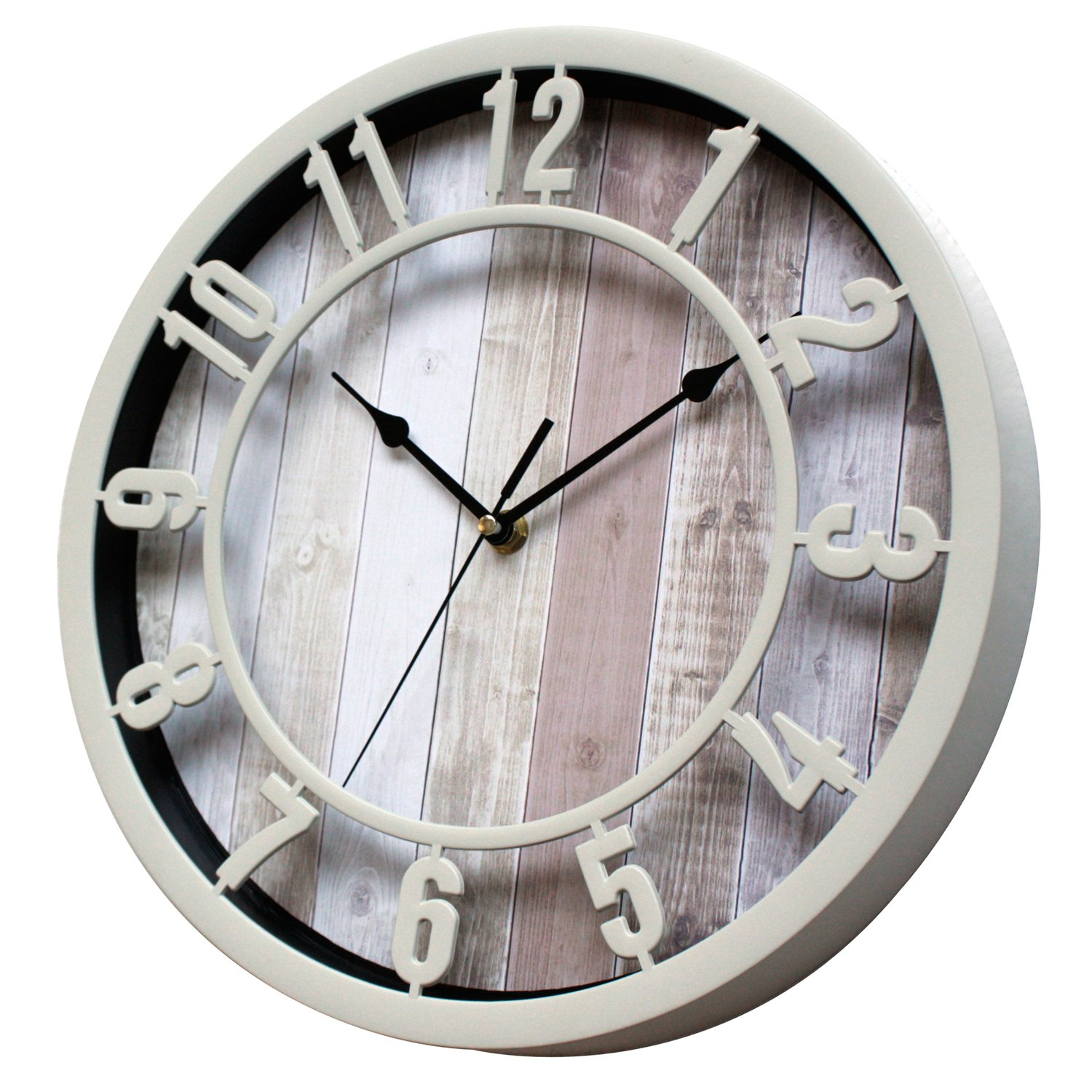 Sunbright 12 Inch Rustic Decorative Noiseless Wall Clock Silent Non-Ticking for Home, Office, School, Cream by Sunbright