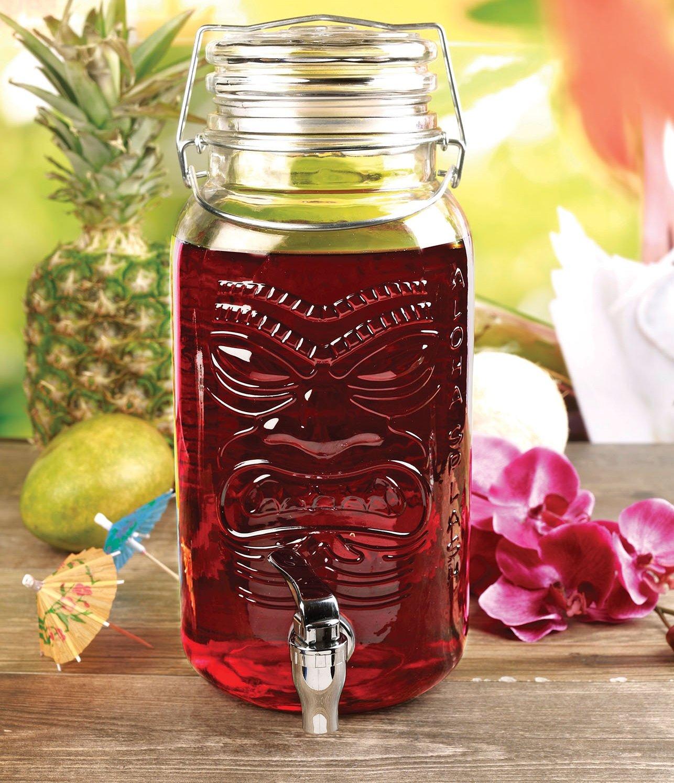 Circleware 67140 Tiki Aloha Splash Glass Beverage Drink Dispenser Mason Jar with Hermetic Locking Lid, 126 Ounce