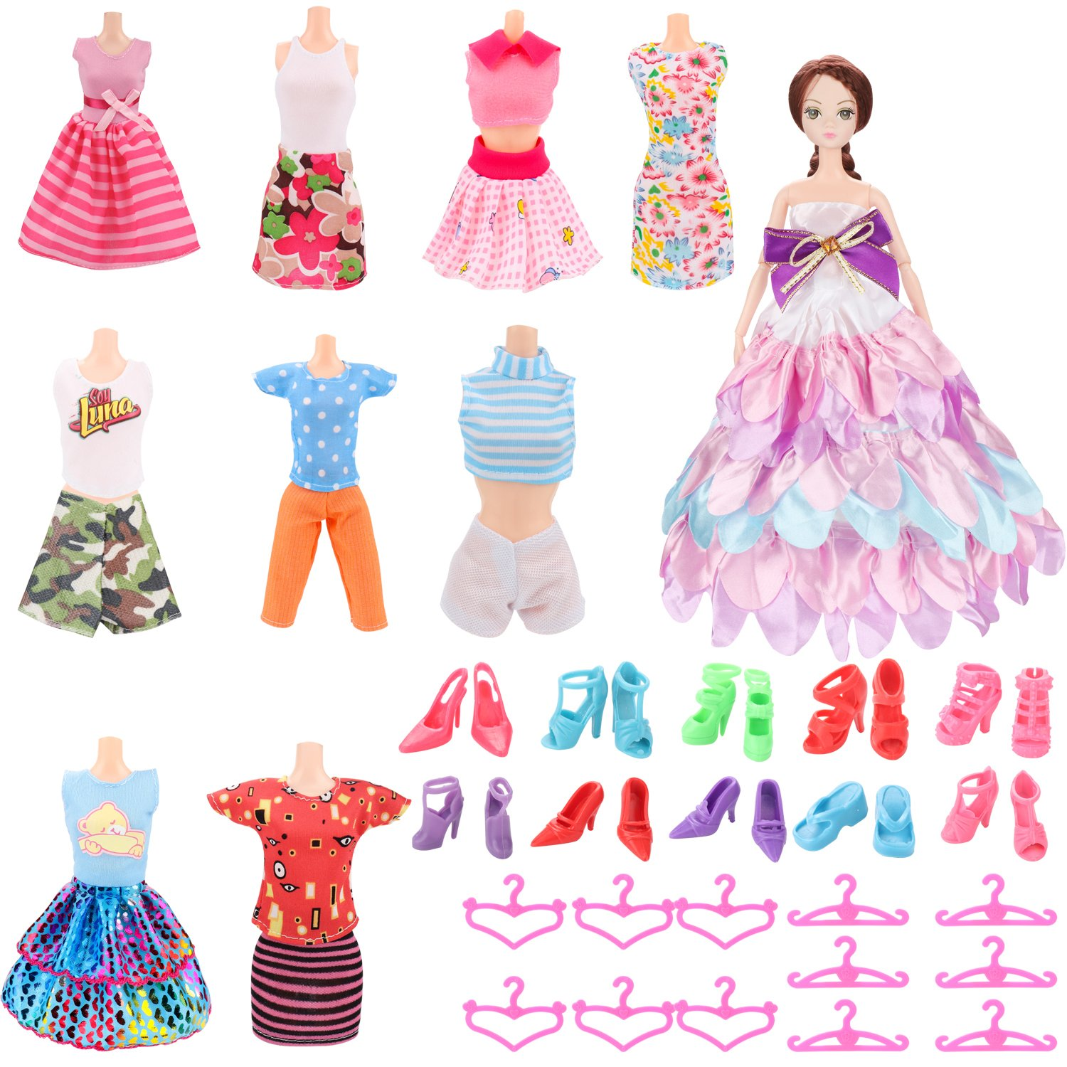 SOTOGO Doll Clothes Set for Barbie Dolls 10 Pack Different Occasions Outfits with 10 Pairs Shoes and 12 Pcs Hanger for Little Girl