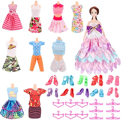 f53672d8aa37d Amazon.com: SOTOGO Doll Clothes Set for Barbie Dolls 10 Pack ...