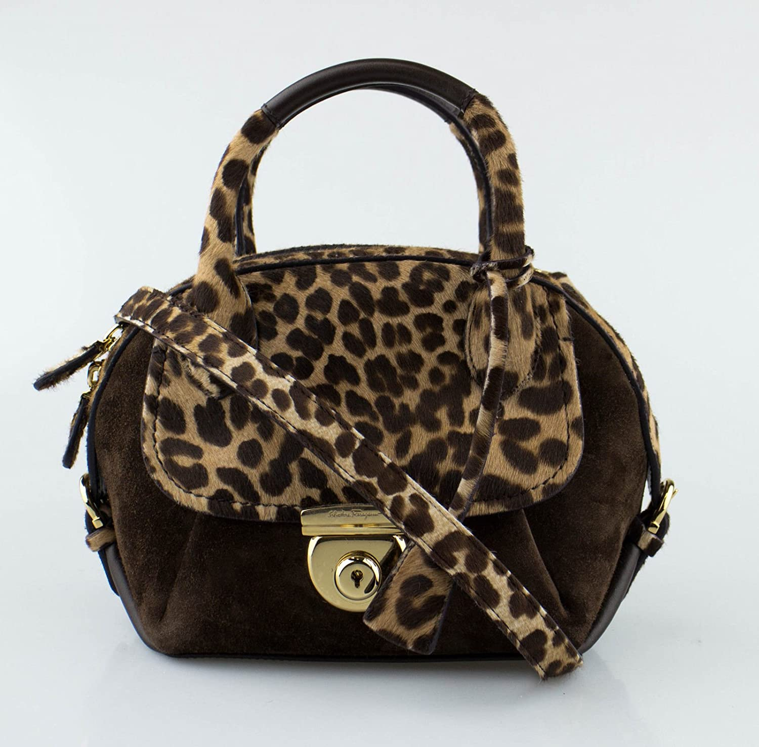 f018d3dd61f7 Amazon.com   SALVATORE FERRAGAMO Brown Suede Leopard Calf Hair Mini Fiamma  Handbag   Baby