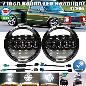 Pair 7 Inch Round LED Headlights For 1975-1980 Chevrolet C10 Suburban/Chevy C20 / Chevrolet C30, Sealed Beam Bright Car/Truck Lighting Conversion Kit H6024 High-Low Beam DRL Lights