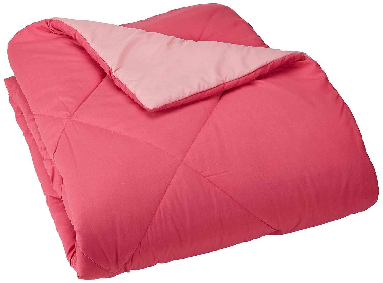 AmazonBasics Reversible Microfiber Comforter - Twin/Twin Extra-Long, Pink