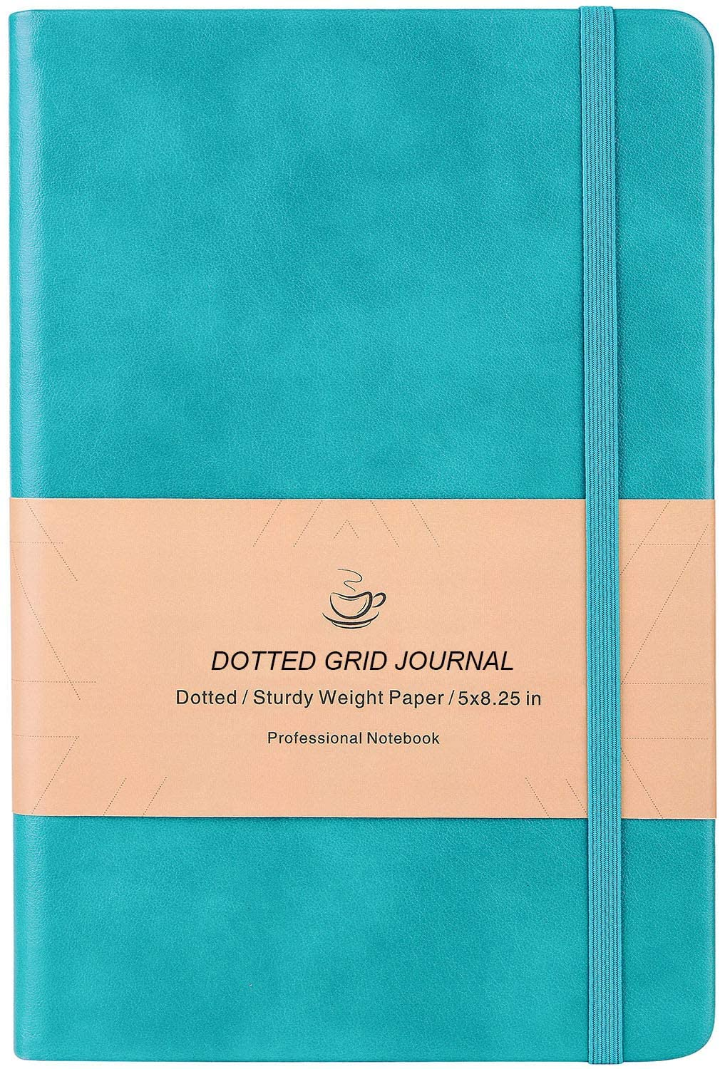 Dotted Grid Notebook/Journal - Dot Grid Hard Cover Notebook, Premium Thick Paper with Fine Inner Pocket, Mint Smooth Faux Leather, 5''×8.25''