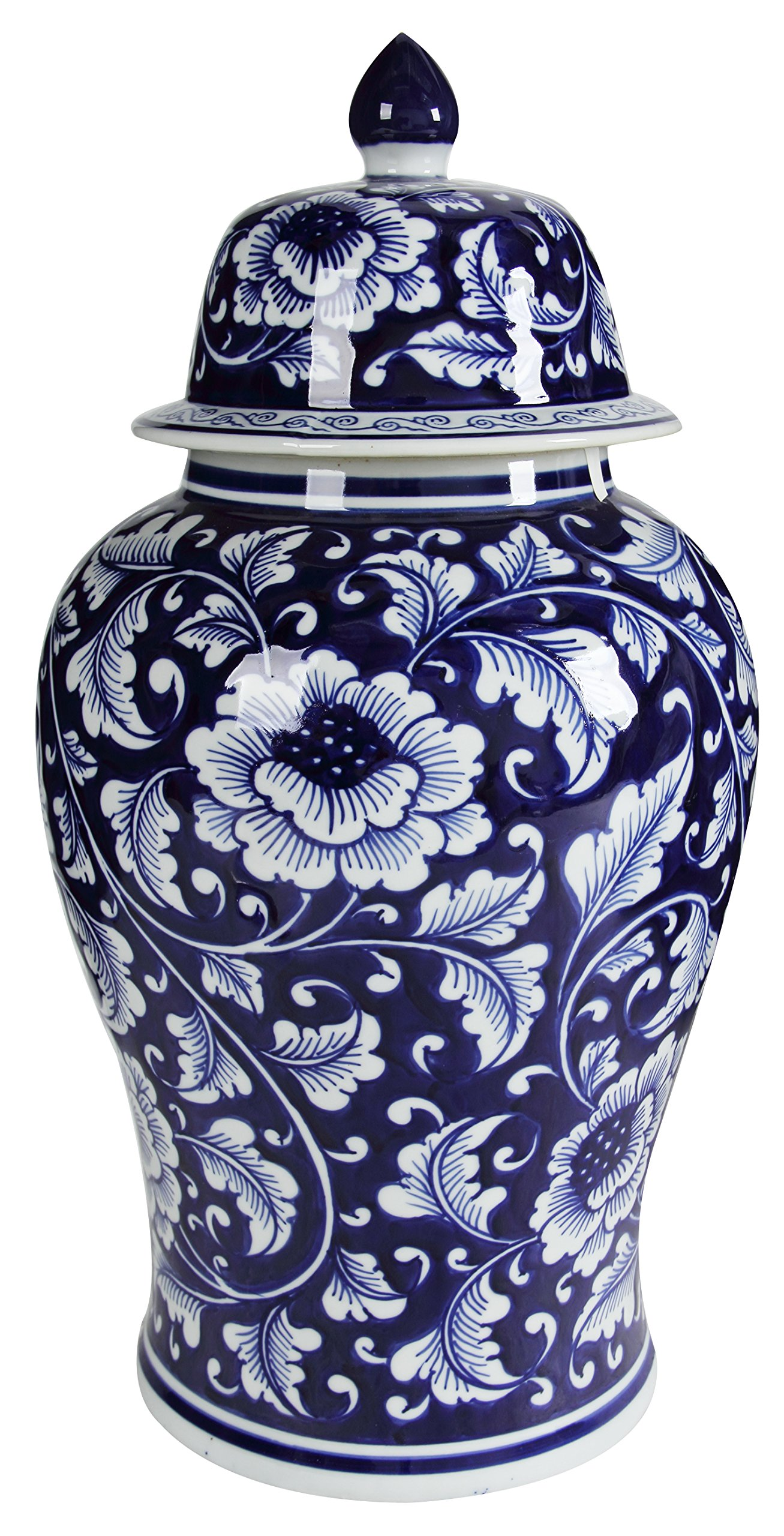 Benjara Benzara BM145820 Bold Floral Decorative Jar with Lid, Blue and White, by Benjara