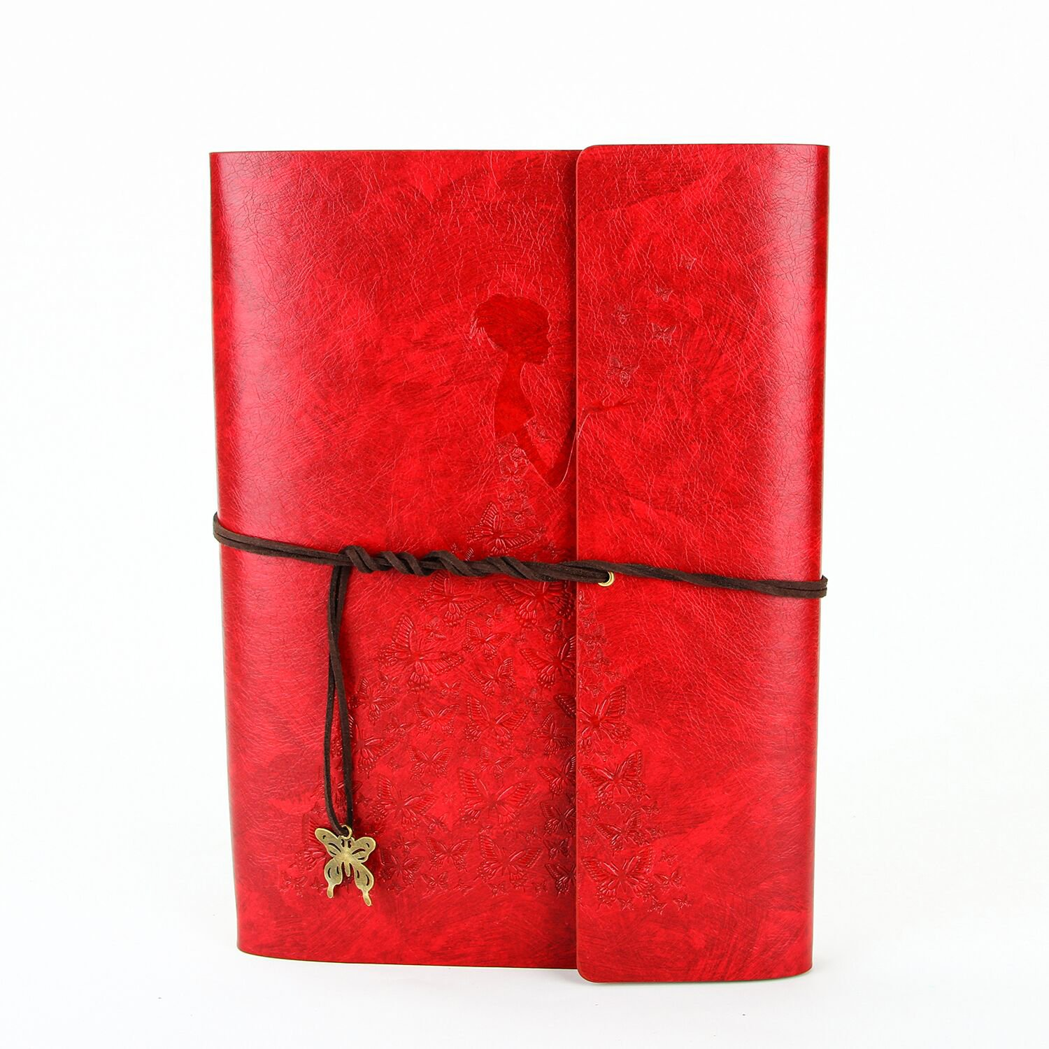 XIUJUAN Scrapbook with Gift Box and Scrapbooking Supplies,Butterfly Girl Black Pages Photo Album Memory Book, Christmas Valentines Birthday Wedding Anniversary Present for Women Her Mom, Red, S DeWei