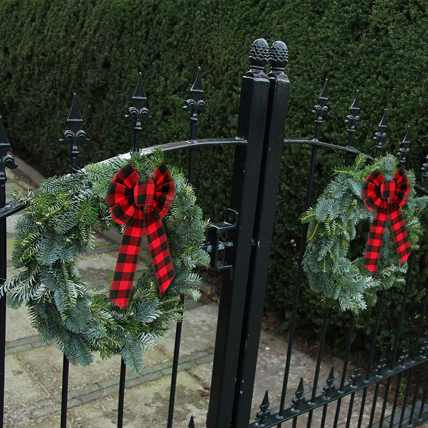 6, 8 x 16 Inch EBOOT Buffalo Plaid Wreath Bow Halloween Black and Red Buffalo Check Large Bow Thanksgiving Wreath Bows Plaid Christmas Bows for Party Home Decoration