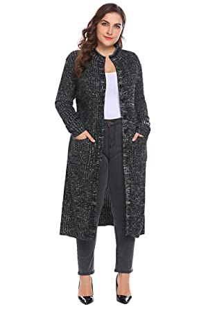 Involand Women Plus Size Casual Button Down Pocket Long Sleeve Rib Knit  Maxi Cardigan Sweater Black