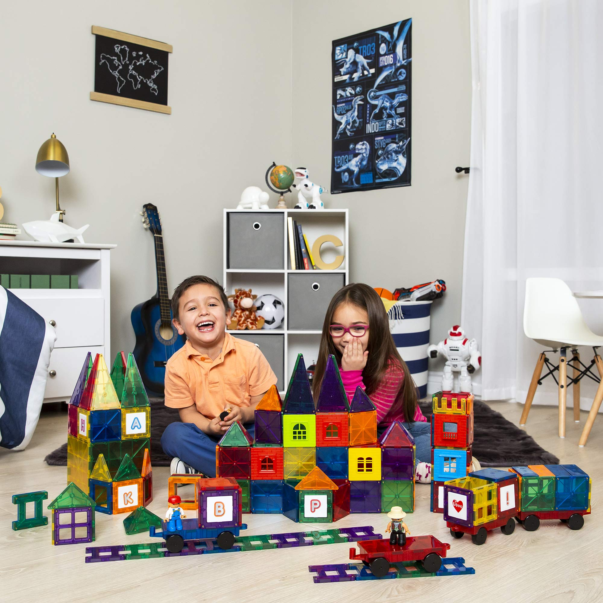 Best Choice Products 250-Piece Kids Educational STEM Rainbow Geometric 3D Magnetic Building Block Tile Toy Play Set w/ Railroad Tracks, 4 Action Figures, 4 Mini Train Carts, ABC Stickers by Best Choice Products (Image #2)