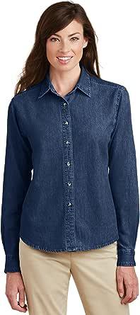 Port & Company - Ladies Long Sleeve Value Denim Shirt (LSP10)