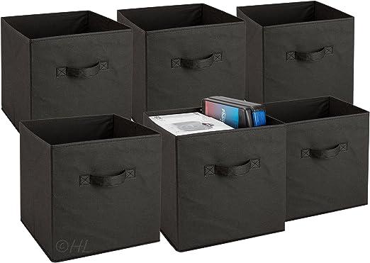 6 Pack Foldable Storage Cubes Collapsible Fabric Bins Shelf Organizer Basket Box