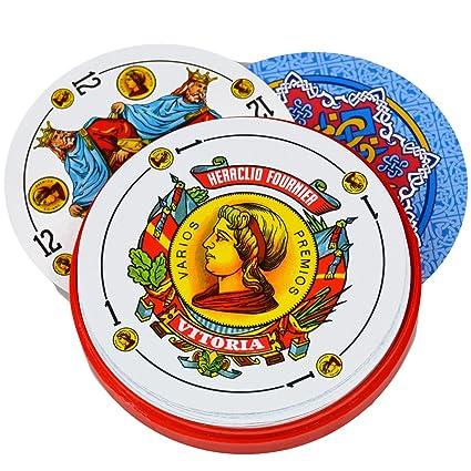 Deck of 50 Fournier Round Spanish Playing Cards in Plastic Case - Baraja Española Redondas