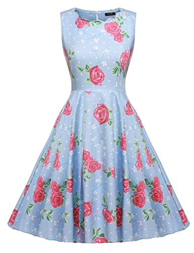 ACEVOG Women's Classy Audrey Hepburn 1950s Vintage Rockabilly Swing Dress