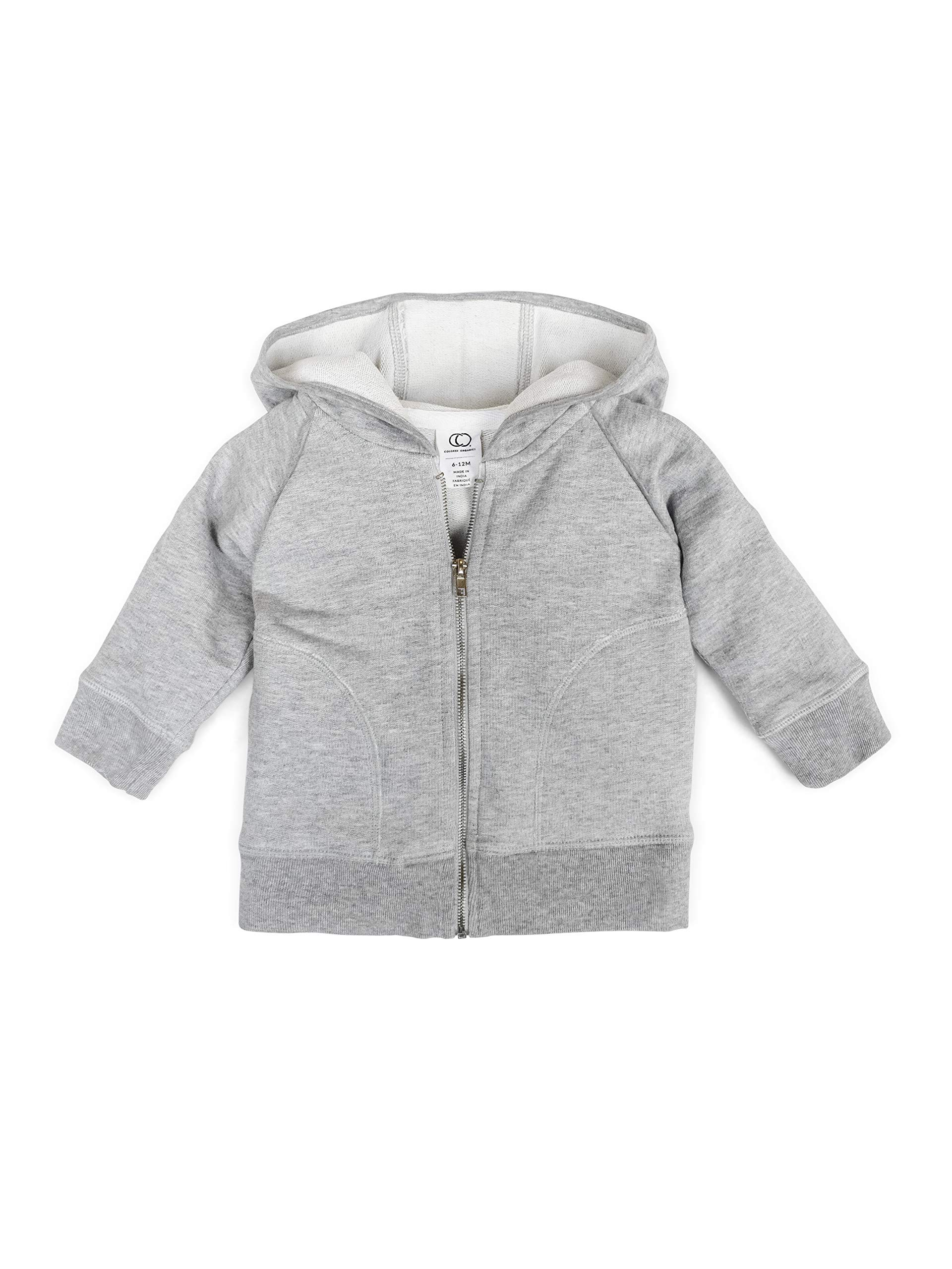 Colored Organics Baby, Toddler, and Kids Organic Cotton Zip-Up Hoodie Sweatshirt - Heather Grey - 6-12M by Colored Organics