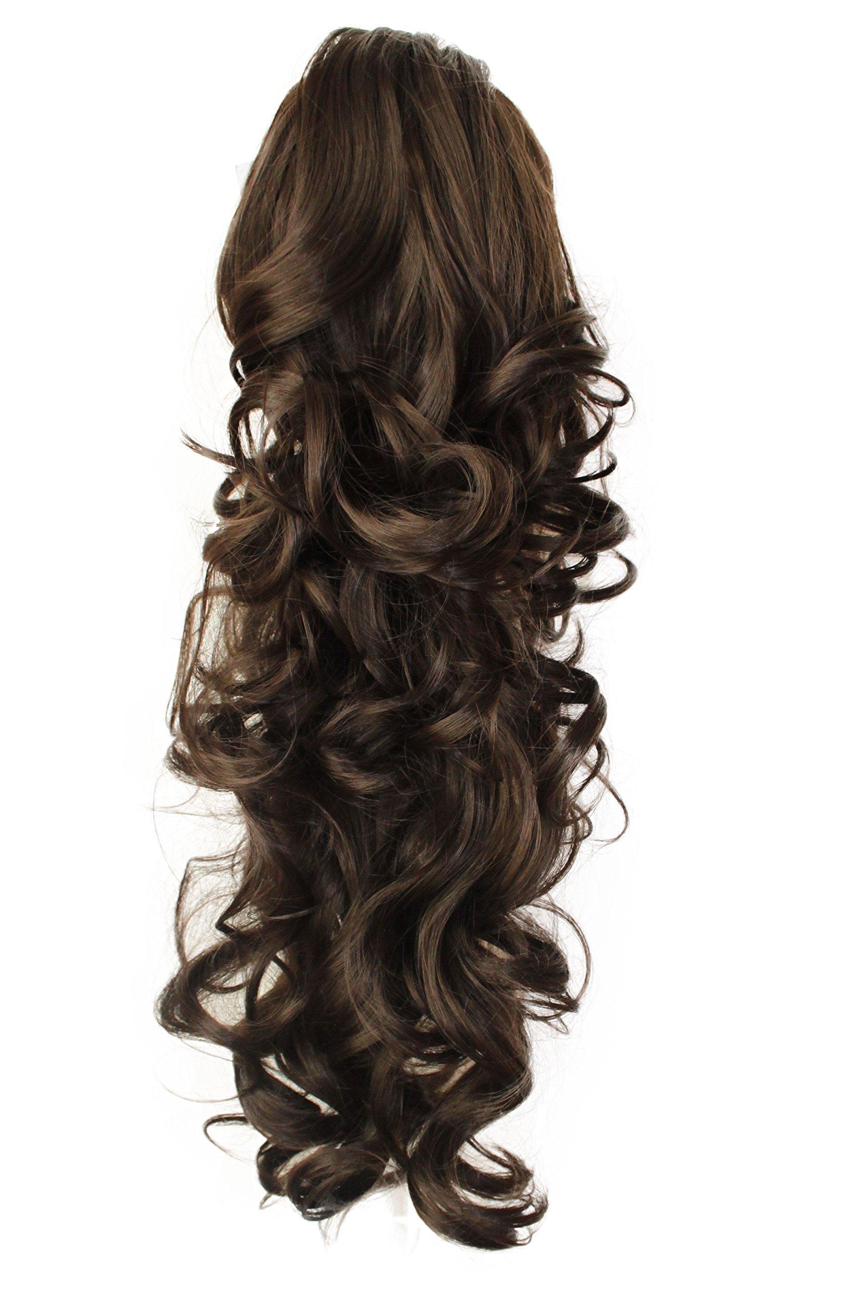 PRETTYSHOP 24'' Hair Piece Ponytail Clip On Extension Long Voluminous Wavy Heat-Resisting Brunette # 6/8 H53