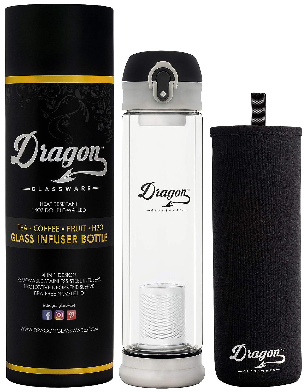 Dragon Glassware Tea Infuser Bottle, 14-Ounce Double Wall Glass, Flip-Top Lid, 2 Stainless Steel Strainers, Travel Sleeve, Tea Maker for Loose Leaf Tea DGW1B
