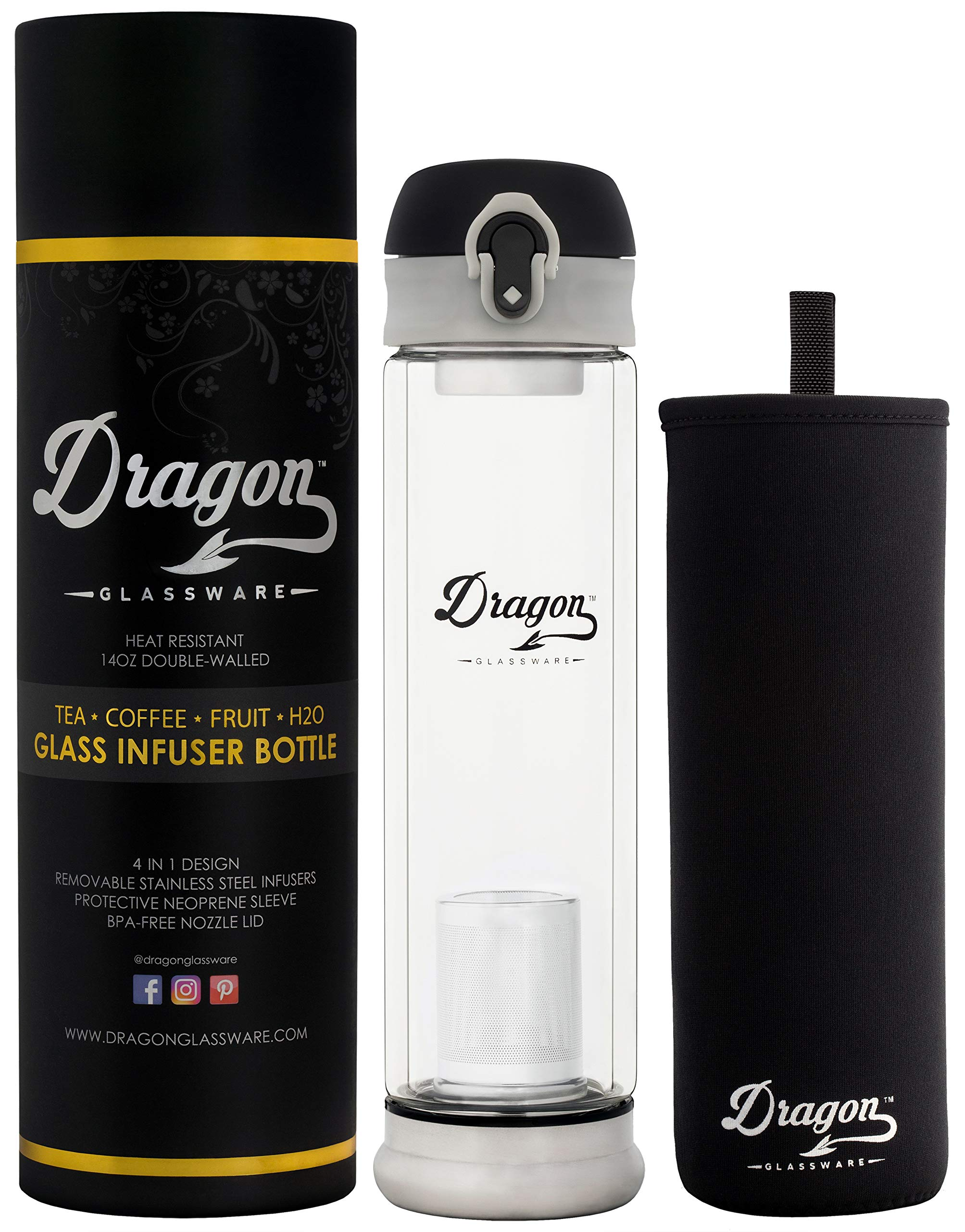 Dragon Glassware Tea Infuser Bottle, 14-Ounce Double Wall Glass, Flip-Top Lid, 2 Stainless Steel Strainers, Travel Sleeve, Tea Maker for Loose Leaf Tea
