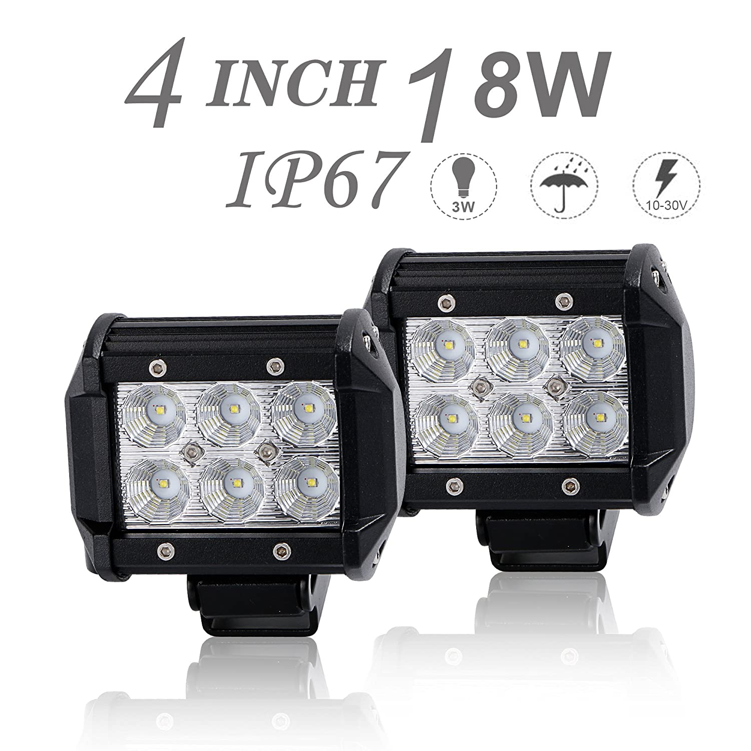 DOT Approved 2Pcs 4Inch 18W Flood LED Light Bar Offroad Pods Lights 4wd LED Driving Lamp Work Light Bulb Fog Lights Backup Reverse Lights for Truck Pickup Jeep SUV ATV UTV Tractor Boat Waterproof IP67 12V/24V Uni Filter