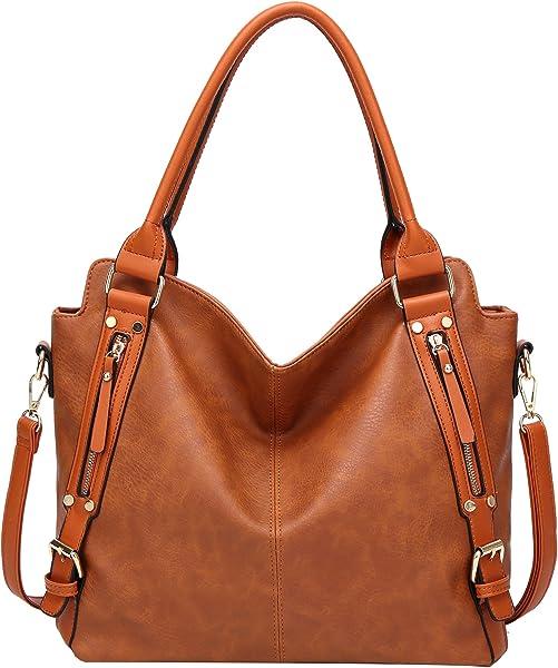 ilishop PU Leather Handbags Large Capacity Tote Fashion Hobo Shoulder Bags ( Brown) f2347e6d18dbc