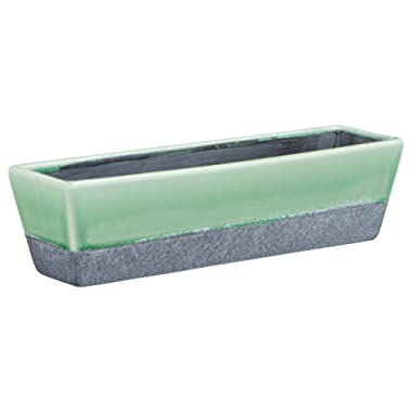 Rivet Modern Ceramic Glazed and Hand-Painted Planter, 3.15 H, Green, Grey