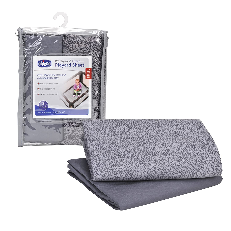 Set of 2 Chicco Waterproof Playard Sheets Baby Infant Portable Playard Bed Avena Gray 180010