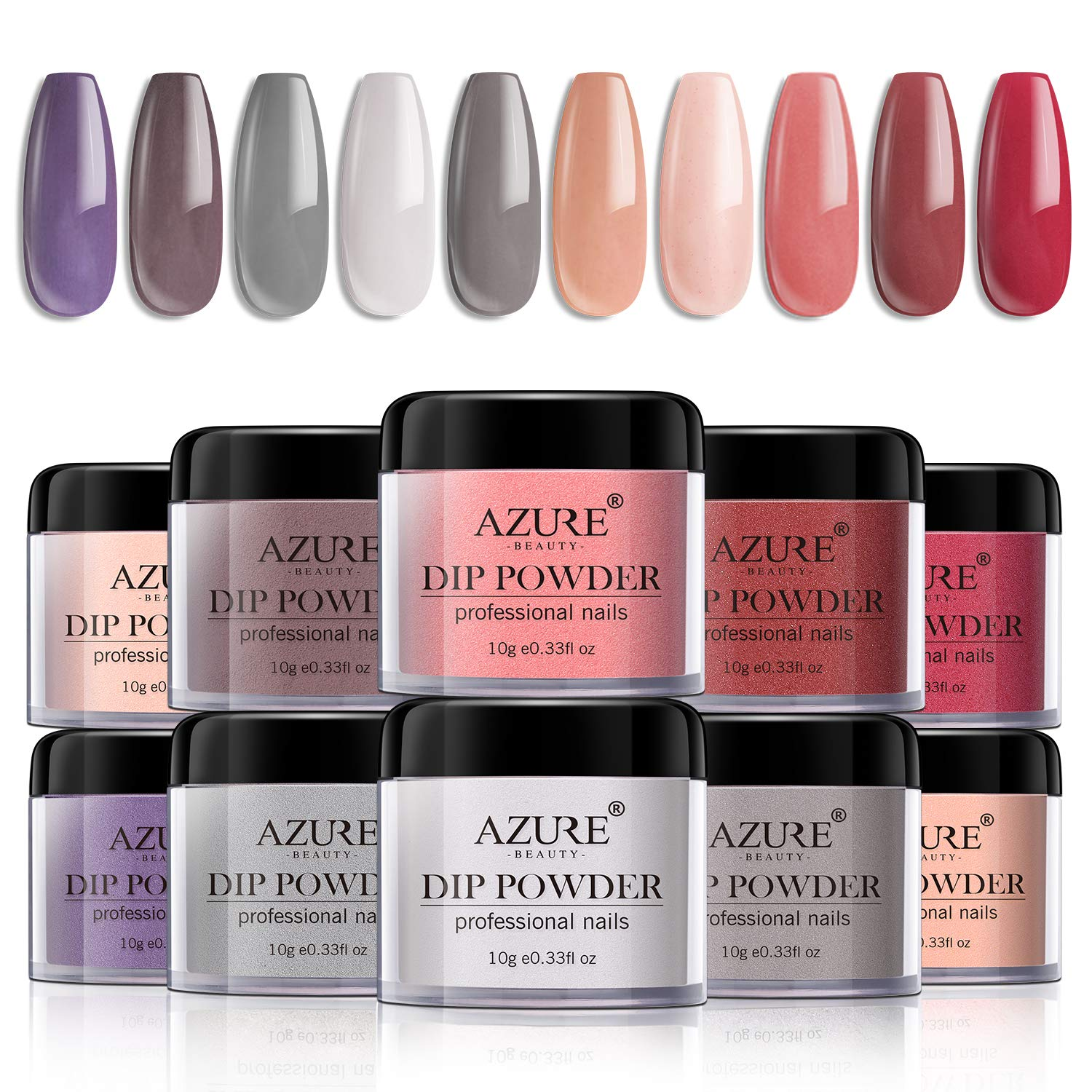 Dip Powder Nails Color Set with 10 Nude Gray Series Colors Dip Powders Nails System for French Nail Manicure Nail Art No UV/LED Nail Lamp Needed by AZUREBEAUTY