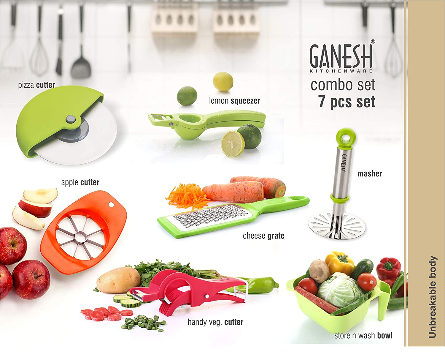 Ganesh Kitchen Vegetable & Fruit Cutter 7 Piece Combo, Multicolor