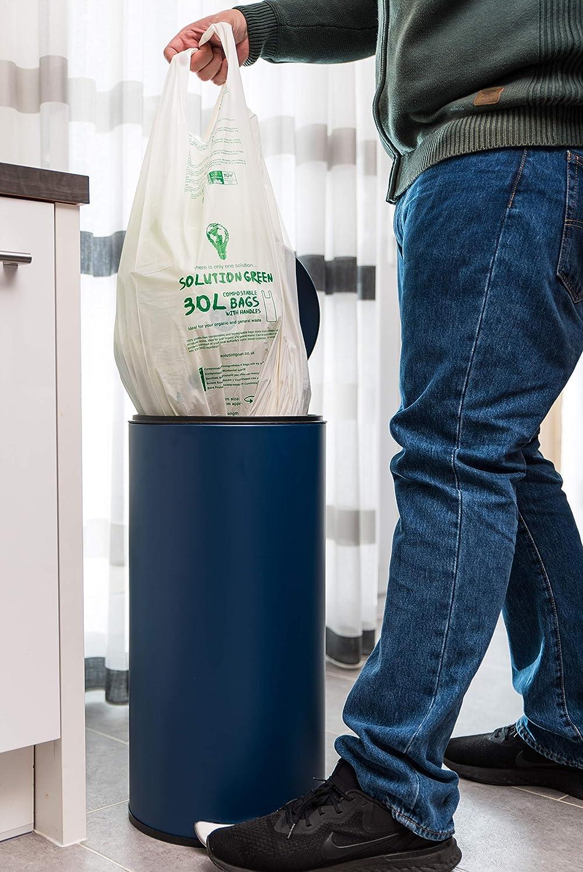 Solution Green Sacchetti Biodegradabili con Manici 10 Litri per Pattumiera Umido x100 Sacchi Compostabili per Rifiuti Organici e Rifiuti Generali con Maniglia Antistrappo e Tenuta