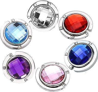 6 Ganchos para Monedero Colorido Diamante Bolsa Plegable Bolso de Mano colgadores de Mesa Soporte Ganchos para Bolsos Mesas Gancho Plegable para Purse Hook