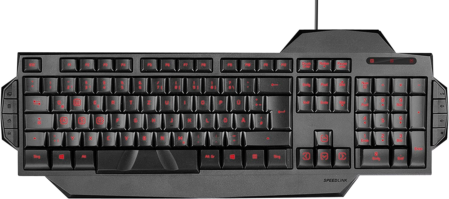 Black SPEEDLINK RAPAX Keyboard with Red LED Illumination for PC Gaming