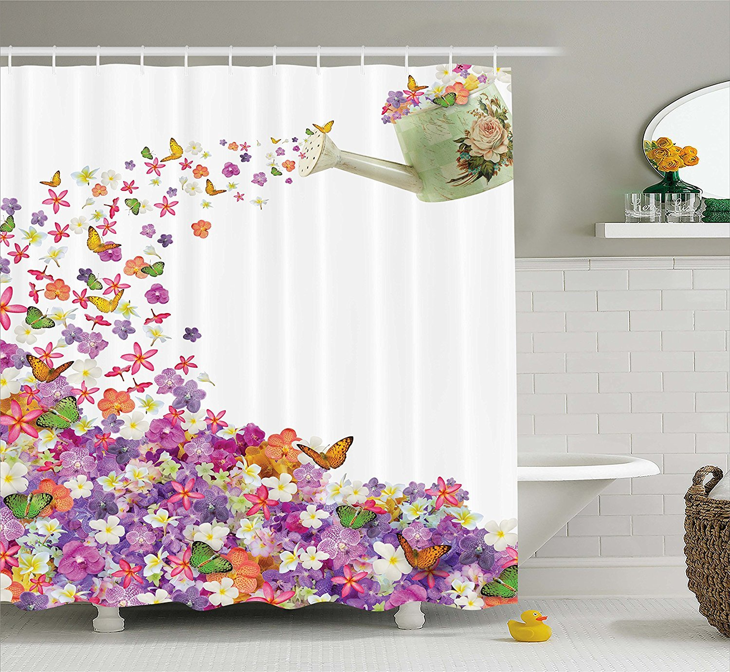 Amazon.com: Colorful Flowers Shower Curtain Floral Decor by, Pansy ...