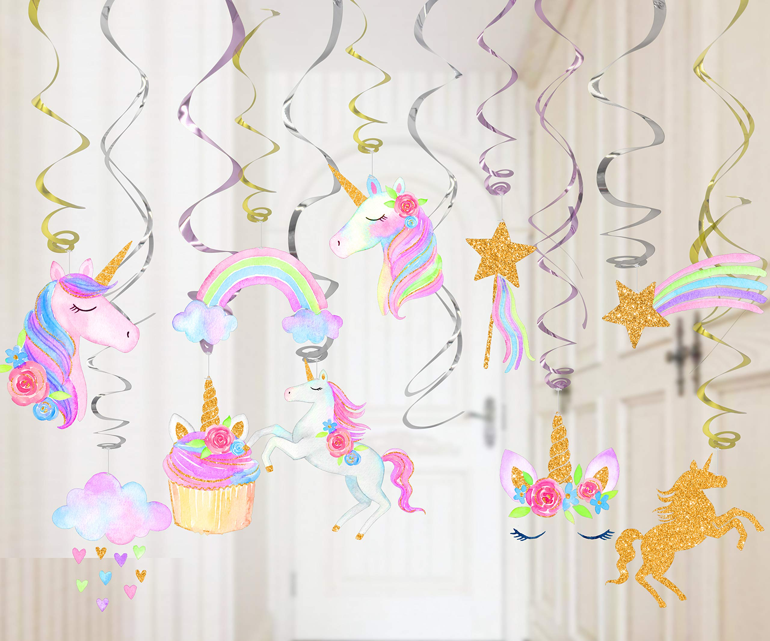 30 Ct Unicorn Hanging Swirl Decorations-Unicorn Party Decorations-Unicorn Birthday Party Supplies 6