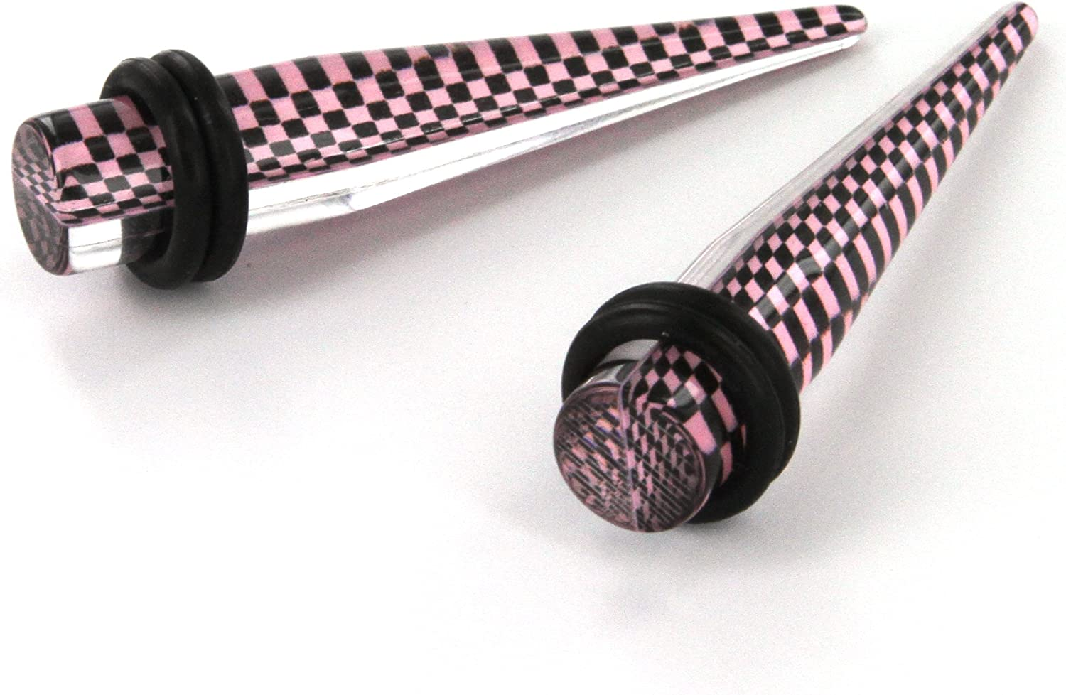2G Red - Sold as a Pair 6mm or Pink Black Checker Print Clear Tapers in White
