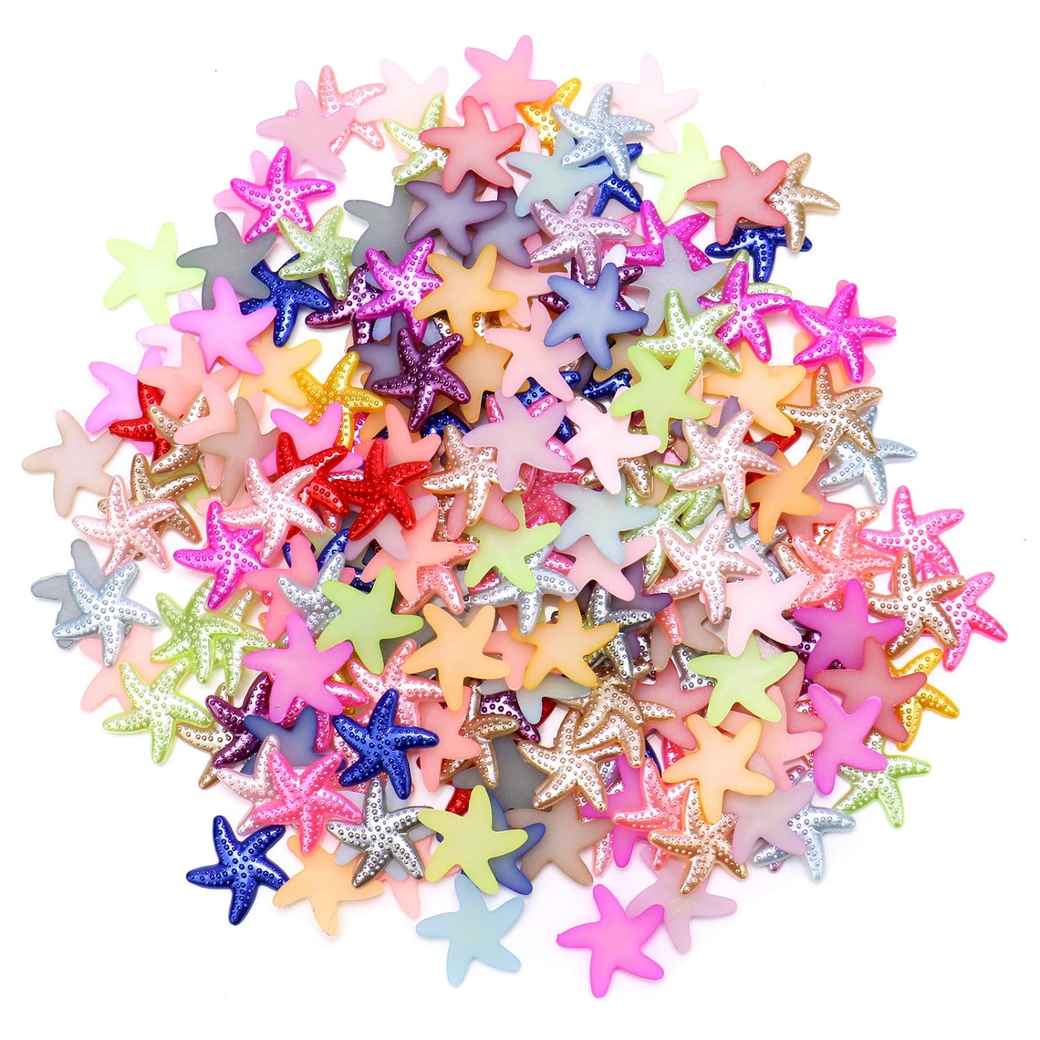 JETEHO Mixed Color 400PCS Craft ABS Starfish Resin Slime Beads Slime Resin Charms for Scrapbooking Phone Case Decor DIY