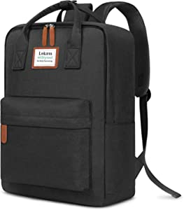 SOCKO Laptop Backpack for Women Men Stylish College Backpack School Bag Lightweight Bookbag Travel Work Carry On Backpack Casual Daypack Rucksack Computer Bag Fits up to 15.6 Inch Laptop, Black